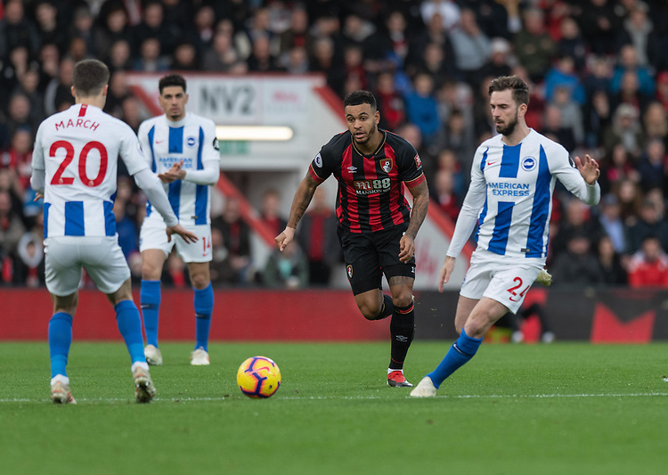 Bournemouth's Joshua King (centre) under pressure from <br /> the Brighton & Hove Albion players.<br /> <br /> Photographer David Horton/CameraSport<br /> <br /> The Premier League - Bournemouth v Brighton and Hove Albion - Saturday 22nd December 2018 - Vitality Stadium - Bournemouth<br /> <br /> World Copyright © 2018 CameraSport. All rights reserved. 43 Linden Ave. Countesthorpe. Leicester. England. LE8 5PG - Tel: +44 (0) 116 277 4147 - admin@camerasport.com - www.camerasport.com