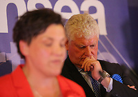 Pictured: Conservative candidate Byron Davies (R) looks disappointed as Labour candidate for Gower constituency Tonia Antoniazzi gives a speech after her win was announced.  Friday 09 June 2017<br />