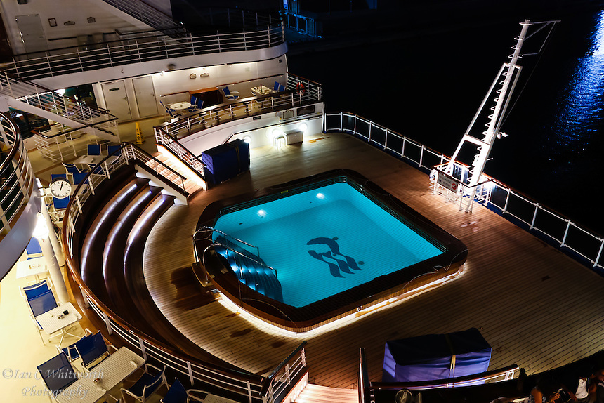 The Ruby Princess stern pool at night after shut down