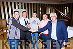 Dan Tim O'Sullivan winning bidder is congratulated by his son Daniel at the auction of 110 acres of land in Beaufort for nearly €2million  in the Royal Hotel Killarney on Thursday l-r: Daniel O'Sullivan, , Conor and Tom Spillane Auctioneers, Patsy and Dan Tim O'Sullivan