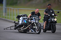 Jun 17, 2017; Bristol, TN, USA; NHRA top fuel nitro Harley Davidson motorcycle rider Jake Stordeur during qualifying for the Thunder Valley Nationals at Bristol Dragway. Mandatory Credit: Mark J. Rebilas-USA TODAY Sports