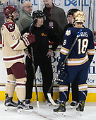 Chris Calnan (BC - 11), Peter Schlittenhardt, Jamie Koharski, Jake Evans (Notre Dame - 18) - The Boston College Eagles defeated the University of Notre Dame Fighting Irish 6-4 (EN) on Saturday, January 28, 2017, at Kelley Rink in Conte Forum in Chestnut Hill, Massachusetts.The Boston College Eagles defeated the University of Notre Dame Fighting Irish 6-4 (EN) on Saturday, January 28, 2017, at Kelley Rink in Conte Forum in Chestnut Hill, Massachusetts.