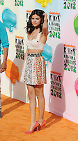 LOS ANGELES, CA - MARCH 31: Selena Gomez arrives at the 2012 Nickelodeon Kids' Choice Awards at Galen Center on March 31, 2012 in Los Angeles, California.
