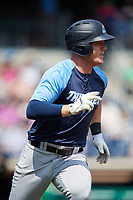Trenton Thunder left fielder Trey Amburgey (14) runs to first base during a game against the Hartford Yard Goats on August 26, 2018 at Dunkin' Donuts Park in Hartford, Connecticut.  Trenton defeated Hartford 8-3.  (Mike Janes/Four Seam Images)
