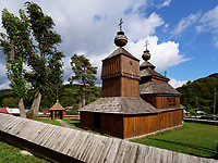 griechisch-katholisch Holzkirche St. Nikolaus 1658 in Bodruzal, Presovsky kraj, Slowakei, Europa, UNESCO-Weltkulturerbe<br /> greek wooden church St.Nichilas from 1658, Bodruzal, Presovsky kraj, Slovakia, Europe, UNESCO world heritage