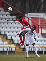 Benoit Badiashile Mukinayi of AS Monaco FC Youth & Kazaiah Sterling of Spurs U19 during the UEFA Youth League round of 16 match between Tottenham Hotspur U19 and Monaco at Lamex Stadium, Stevenage, England on 21 February 2018. Photo by Andy Rowland.