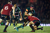 Sione Kalamafoni of Leicester Tigers takes on the Munster Rugby defence. European Rugby Champions Cup match, between Leicester Tigers and Munster Rugby on December 17, 2017 at Welford Road in Leicester, England. Photo by: Patrick Khachfe / JMP