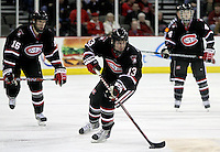 St. Cloud State's Jordy Christian leads the Huskies into the UNO zone during the third period. UNO beat St. Cloud State 3-0 Friday night at Qwest Center Omaha.  (Photo by Michelle Bishop)