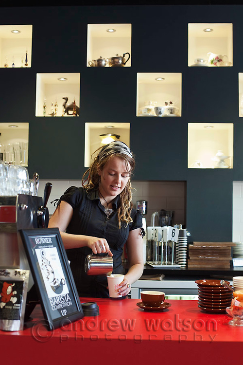 Barista making coffee at Bang Espresso Bar.  Cairns, Queensland, Australia