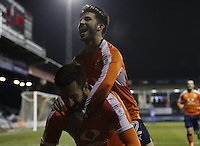 Ollie Palmer of Luton Town is mobbed after scoring his sides third goal during the Sky Bet League 2 match between Luton Town and Hartlepool United at Kenilworth Road, Luton, England on 14 March 2017. Photo by Liam Smith.