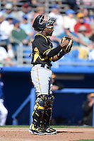 Catcher Carlos Paulino (73) of the Pittsburgh Pirates during a spring training game against the Toronto Blue Jays on February 28, 2014 at Florida Auto Exchange Stadium in Dunedin, Florida.  Toronto defeated Pittsburgh 4-2.  (Mike Janes/Four Seam Images)