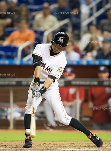Ichiro Suzuki (Marlins),<br /> APRIL 24, 2015 - MLB : Ichiro Suzuki of the Miami Marlins bats against the Washington Nationals during the Major League Baseball game at Marlins Park in Miami, Florida, United States.<br /> (Photo by Thomas Anderson/AFLO) (JAPANESE NEWSPAPER OUT)