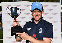 England captain Eoin Morgan with series winning trophy.<br /> New Zealand Blackcaps v England. 5th ODI International one day cricket, Hagley Oval, Christchurch. New Zealand. Saturday 10 March 2018. &copy; Copyright Photo: Andrew Cornaga / www.Photosport.nz