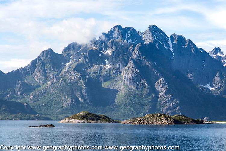 Jagged mountain peaks Raftsundet strait, Lofoten Islands, Nordland, northern Norway