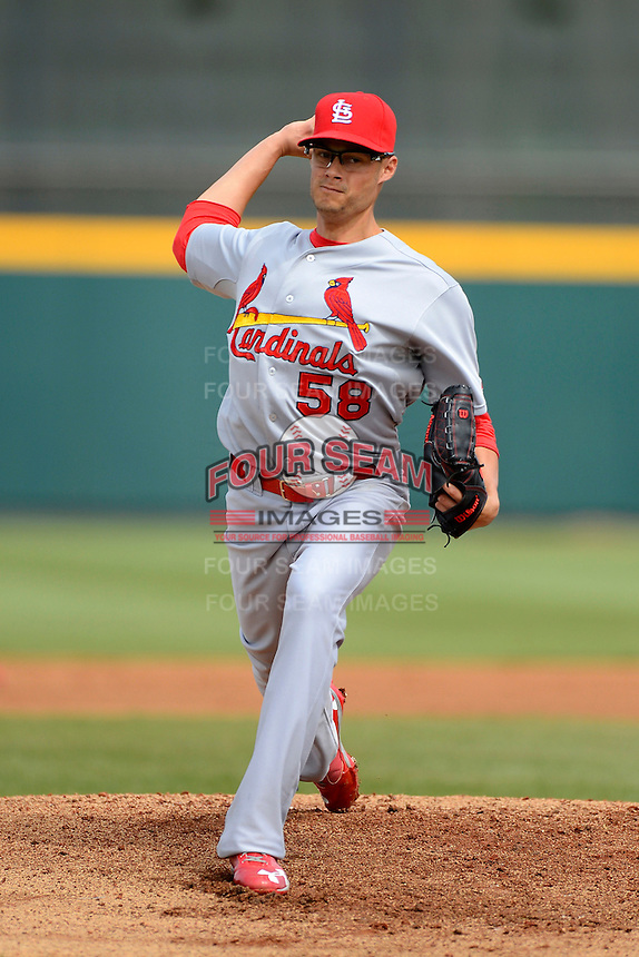 St. Louis Cardinals pitcher Joe Kelly #58 during a Spring Training game against the Houston Astros at Osceola County Stadium on March 1, 2013 in Kissimmee, Florida.  The game ended in a tie at 8-8.  (Mike Janes/Four Seam Images)