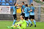 05.08.2019, Carl-Benz-Stadion, Mannheim, GER, 3. Liga, SV Waldhof Mannheim vs. TSV 1860 Muenchen, <br /> <br /> DFL REGULATIONS PROHIBIT ANY USE OF PHOTOGRAPHS AS IMAGE SEQUENCES AND/OR QUASI-VIDEO.<br /> <br /> im Bild: Michael Schultz (SV Waldhof Mannheim #23) jubelt ueber das Tor zum 1:0 mit Benedict dos Santos (SV Waldhof Mannheim #21), Marcel Seegert (SV Waldhof Mannheim #5) und Valmir Sulejmani (SV Waldhof Mannheim #9), am Boden Hendrik Bonmann (TSV 1860 Muenchen #39)<br /> <br /> Foto © nordphoto / Fabisch