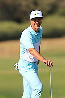 Thorbjorn Olesen (DEN) on the 9th green during Thursday's Round 1 of the 2016 Portugal Masters held at the Oceanico Victoria Golf Course, Vilamoura, Algarve, Portugal. 19th October 2016.<br /> Picture: Eoin Clarke | Golffile<br /> <br /> <br /> All photos usage must carry mandatory copyright credit (&copy; Golffile | Eoin Clarke)