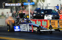 Feb. 9, 2012; Pomona, CA, USA; NHRA top fuel dragster driver Antron Brown during qualifying at the Winternationals at Auto Club Raceway at Pomona. Mandatory Credit: Mark J. Rebilas-
