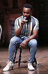 """Deon'te Goodman during the eduHAM Q & A before The Rockefeller Foundation and The Gilder Lehrman Institute of American History sponsored High School student #EduHam matinee performance of """"Hamilton"""" at the Richard Rodgers Theatre on October 30, 2019 in New York City."""