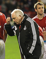 Aberdeen manager Craig Brown contemplating extra time in the Aberdeen v St Mirren Scottish Communities League Cup match played at Pittodrie Stadium, Aberdeen on 30.10.12.