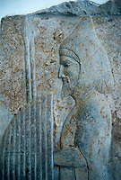 Relief sculpture panels depicting men bearing gifts in the New Year festival, . From the reign of Darius 1st or Xerxes (485-465 BC) of the First Persian or Achaemenid Empire excavated from the Palace of Darius 1st Persepolis, present day Iran. Persepolis was one of the residential cities of the Achaemenid Kings. The panels depict the festival of New Year (Noruz) in which representatives of all the peoples of the realm participated. This panel comes from the stairways of the palace and show men bearing gifts. The clothing of this man with a lamb identifies him as a Mede. Persepolis was one of the residential cities of the Achaemenid Kings. The panels depict the festival of New Year (Noruz) in which representatives of all the peoples of the realm participated. This panel comes from the stairways of the palace and show men bearing gifts. The clothing of this man identifies him as a Persian. The Vorderasiatisches Museum, part of the Pergamon Museum, Berlin