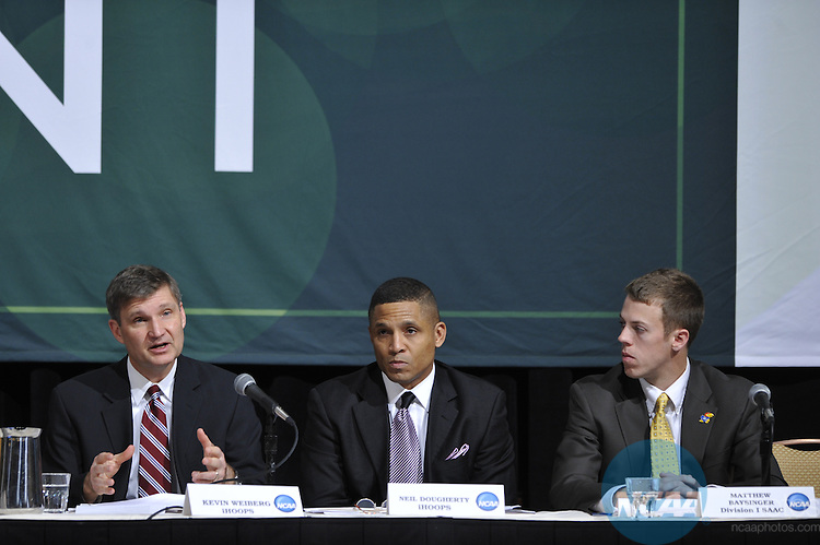 14 JAN 2010: The Division I Issues Forum at the 2010 NCAA Convention held at the Marriott Marquis and the Hyatt Regency in Atlanta, GA. Stephen Nowland/NCAA Photos.Pictured: Kevin Weiberg, Matthew Baysinger, Neil Doughetry .