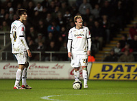 Pictured: Jordi Gomez (left) and Thomas Butler (right) of Swansea City prepare to take a free kick <br /> Picture by D Legakis / Athena Picture Agency, Swansea, 07815441513