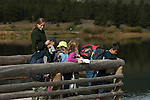 Elementary school field trip, Lily Lake, Rocky Mountain National Park, Colorado, USA