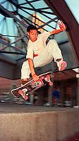 Skateboarder in Justin Herman Plaza, 1987.   p&amp;#xA;<br />
