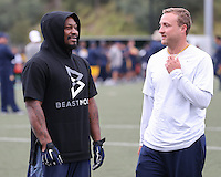SYDNEY, AUSTRALIA - August 22, 2016:  Cal Bears Football team Australia trip.  Marshawn Lynch talks with Jake Spavital