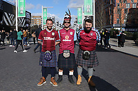 Three Scottish Villa supporters on Wembley way before todays Aston Villa vs Manchester City, Caraboa Cup Final Football at Wembley Stadium on 1st March 2020
