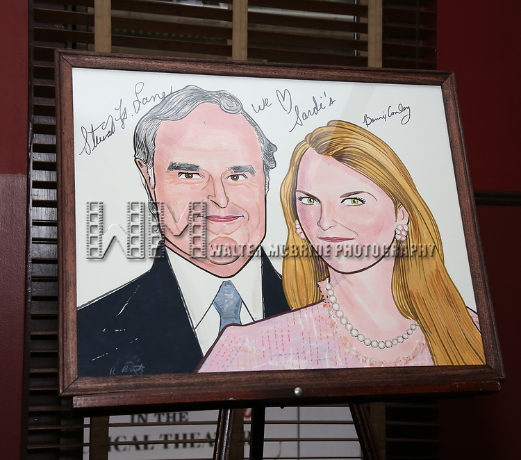 Bonnie Comley and Stewart F. Lane portrait at the UMass Lowel Cockail Party for 'Sunset Boulevard' hosted by Chancellor Jacquie Moloney, Bonnie Comley and Stewart F. Lane at Sardi's on April 5, 2017 in New York City