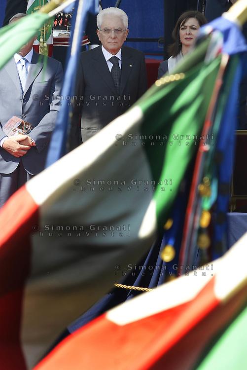 Roma, 2 Giugno 2015<br /> Via dei Fori Imperiali, il palco delle Autorit&agrave; al passaggio della parata militare.<br /> Sergio Mattarella.<br /> Festa della Repubblica, 69&deg; anniversario.