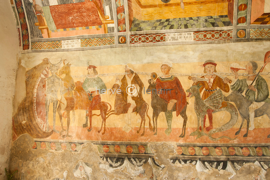 France, Alpes-Maritimes (06), Roubion, la chapelle Saint-Sébastien, les fresques // France, Alpes Maritimes, Roubion, chapel St.Sebastien, the frescoes