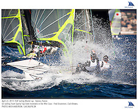 Hyeres, France, 20130424: ISAF SAILING WORLD CUP - approx 900 sailors compete in all the Olympic boat classes at the last event on the 2012/2013 World Cup. 49er - USA - Frederick Strammer / Zachary Brown. Photo: Mick Anderson/SAILINGPIX..Note: High-res TIFFs availble upon request.