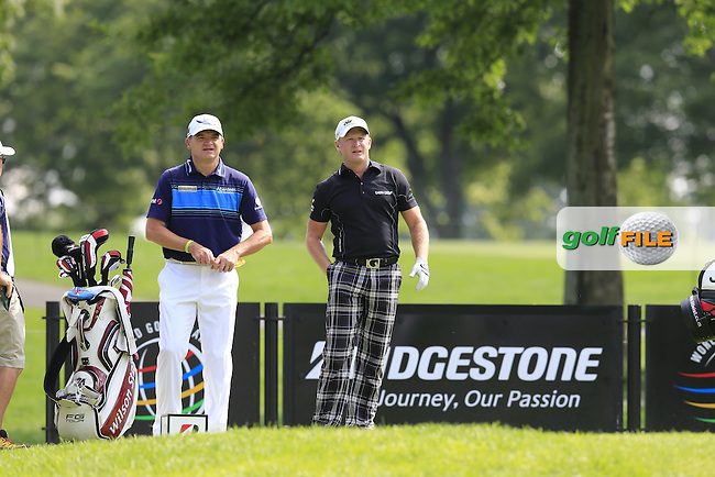 Paul Lawrie (SCO) and Jamie Donaldson (WAL) on the 9th tee during Thursday's Round 1 of the 2013 Bridgestone Invitational WGC tournament held at the Firestone Country Club, Akron, Ohio. 1st August 2013.<br /> Picture: Eoin Clarke www.golffile.ie