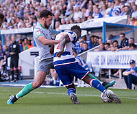 Reading's Andy Yiadom (right) is tackled by Blackburn Rovers' Greg Cunningham (left)  <br /> <br /> Photographer David Horton/CameraSport<br /> <br /> The EFL Sky Bet Championship - Reading v Blackburn Rovers - Saturday 21st September 2019 - Madejski Stadium - Reading<br /> <br /> World Copyright © 2019 CameraSport. All rights reserved. 43 Linden Ave. Countesthorpe. Leicester. England. LE8 5PG - Tel: +44 (0) 116 277 4147 - admin@camerasport.com - www.camerasport.com