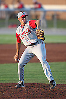Lowell Spinners Pitcher Jay Broughton during a game vs. the Batavia Muckdogs at Dwyer Stadium in Batavia, New York July 14, 2010.   Batavia defeated Lowell 12-2.  Photo By Mike Janes/Four Seam Images