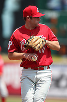 Reading Phillies third baseman Cody Overbeck #17 during a game against the Erie Seawolves at Jerry Uht Park on May 29, 2011 in Erie, Pennsylvania.  Erie defeated Reading 6-5 in ten innings.  Photo By Mike Janes/Four Seam Images