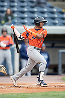 Bowling Green Hot Rods shortstop Wander Franco (4) follows through on his swing against the West Michigan Whitecaps on May 21, 2019 at Fifth Third Ballpark in Grand Rapids, Michigan. The Whitecaps defeated the Hot Rods 4-3.  (Andrew Woolley/Four Seam Images)
