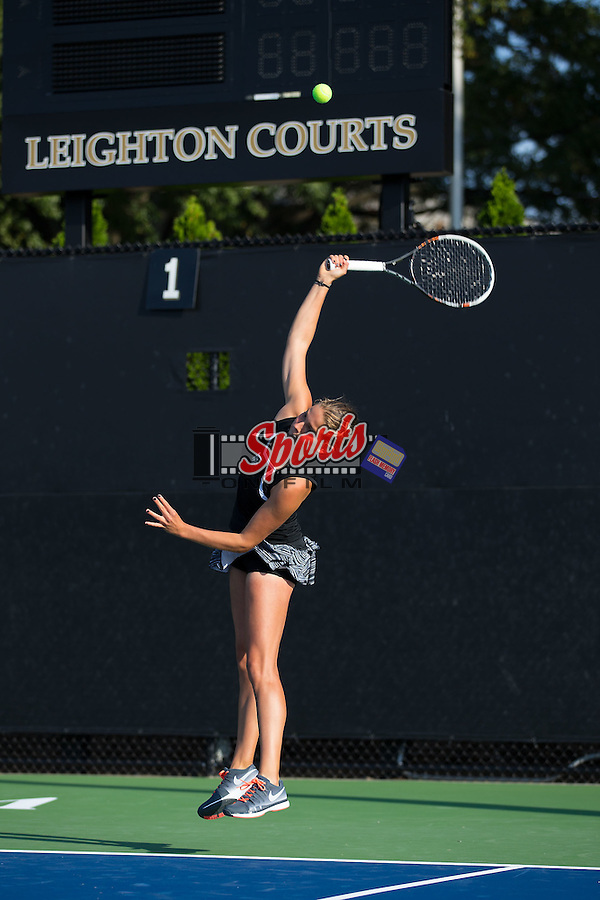 Samantha Asch of the Wake Forest Demon Deacons in action during the Wake Forest Invitational at the Wake Forest Tennis Center on October 3, 2014 in Winston-Salem, North Carolina.  (Brian Westerholt/Sports On Film)