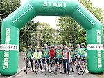 Cyclists line up with Paul Lannon at the start of the D2K cycle from Dunleer to Kilkenny and back in aid of Motor Neurone Disease. Photo:Colin Bell/pressphotos.ie