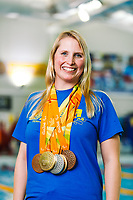 Picture by Rogan Thomson/SWpix.com - 08/12/2017 - Swimming - Team Bath Karen Bowen Feature -  Bath University, Bath, England - Team Bath AS club patron Stephanie Millward MBE poses with her Rio 2016 Paralympic medals.