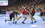 Marko Bezjak; Piotr Chrapkowski; Max Darj;  beim Spiel in der Handball Bundesliga, SC Magdeburg - Bergischer HC.<br /> <br /> Foto &copy; PIX-Sportfotos *** Foto ist honorarpflichtig! *** Auf Anfrage in hoeherer Qualitaet/Aufloesung. Belegexemplar erbeten. Veroeffentlichung ausschliesslich fuer journalistisch-publizistische Zwecke. For editorial use only.