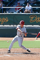 Scott Donley #3 of the Indiana Hoosiers bats against the Long Beach State Dirtbags at Blair Field on March 15, 2014 in Long Beach, California. Indiana defeated Long Beach State 2-1. (Larry Goren/Four Seam Images)
