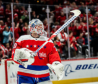 WASHINGTON, DC - JANUARY 31: Braden Holtby #70 of the Washington Capitals  in action during a game between New York Islanders and Washington Capitals at Capital One Arena on January 31, 2020 in Washington, DC.