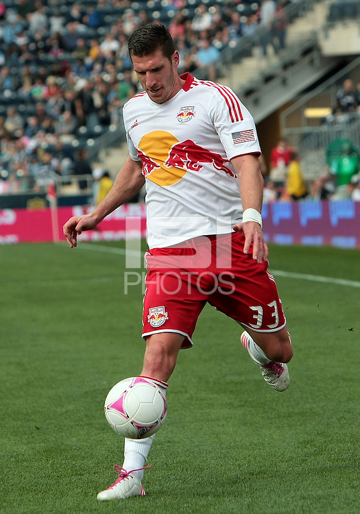 CHESTER, PA - OCTOBER 27, 2012:   Kenny Cooper (33) of the New York Red Bulls during an MLS match against the Philadelphia Union at PPL Park in Chester, PA. on October 27. Red Bulls won 3-0.