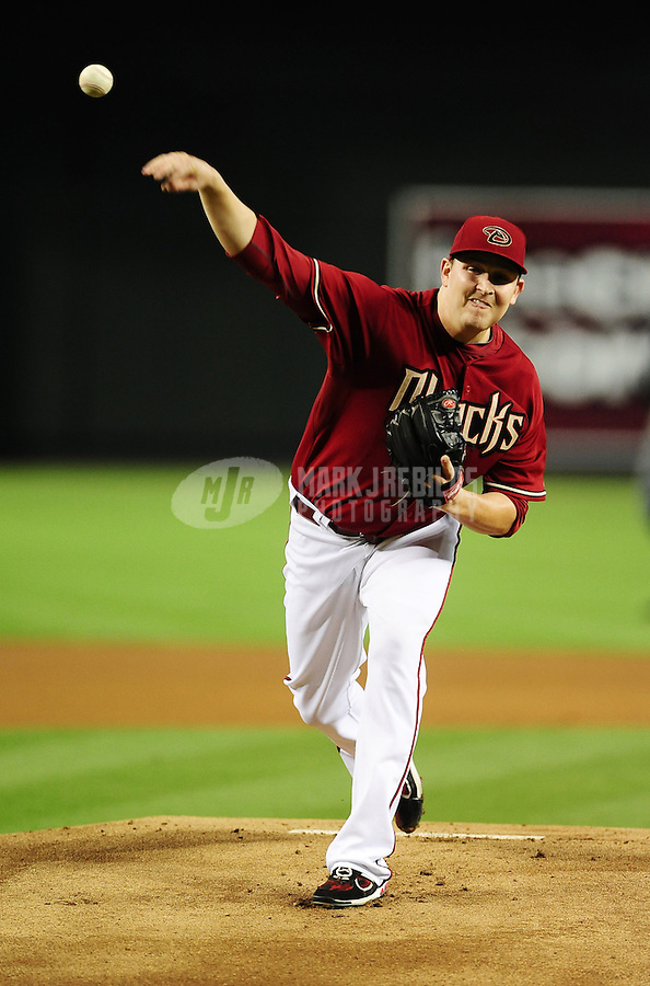Jun. 20, 2012; Phoenix, AZ, USA; Arizona Diamondbacks pitcher Trevor Cahill throws in the second inning against the Seattle Mariners at Chase Field.  Mandatory Credit: Mark J. Rebilas-