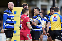 Kahn Fotuali'i of Bath Rugby gets to know Jono Kitto of Harlequins. Aviva Premiership match, between Bath Rugby and Harlequins on November 25, 2017 at the Recreation Ground in Bath, England. Photo by: Patrick Khachfe / Onside Images