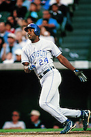 Jermaine Dye of the Kansas City Royals during a game against the Anaheim Angels at Angel Stadium circa 1999 in Anaheim, California. (Larry Goren/Four Seam Images)